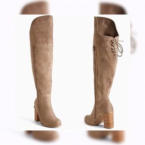 Torrid Taupe Braided Side Heel Over The Knee Boots